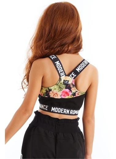 Colorinas Modern Romance Çiçek Desenli Crop Üst Siyah